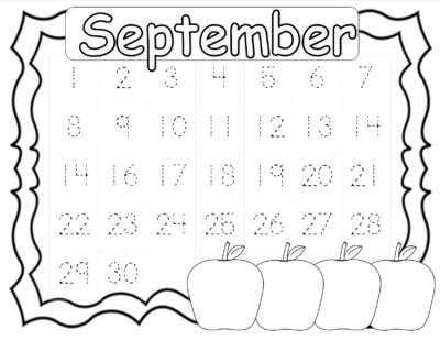 Free On Friday: September Calendar Numbers
