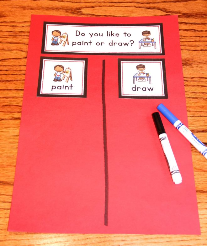 "Question of the Day displayed on red construction paper. The question says ""Do you like to paint or draw?"" with two response choices: ""paint"" and ""draw."""