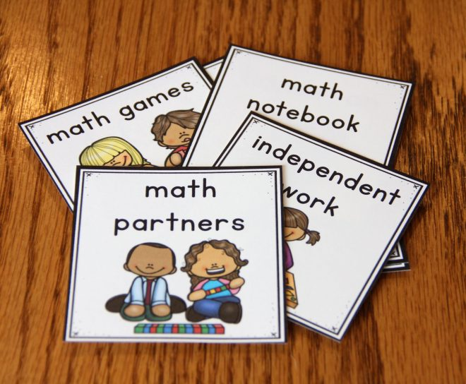 Photo of math station cards that were removed from the classroom display and stacked for summer storage.