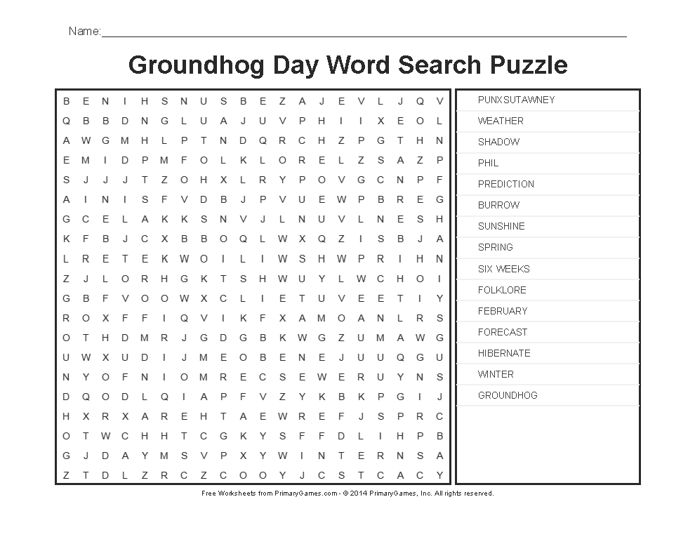 Groundhog Day Worksheets: Groundhog Day Word Search Puzzle