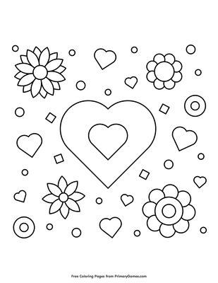 Coloring Pages Of Hearts And Flowers : coloring, pages, hearts, flowers, Hearts, Flowers, Coloring, Printable, PrimaryGames