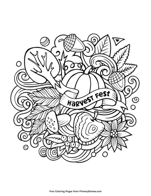 Harvest Coloring Pages For Adults : harvest, coloring, pages, adults, Harvest, Coloring, Printable, PrimaryGames