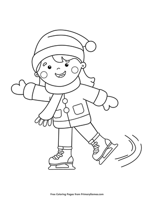 Ice Skates Coloring Pages : skates, coloring, pages, Skating, Coloring, Printable, PrimaryGames