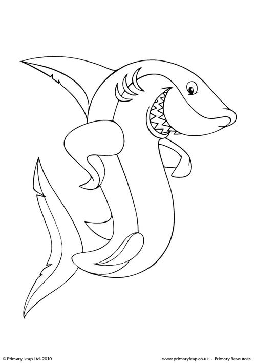 great white shark colouring page great white shark