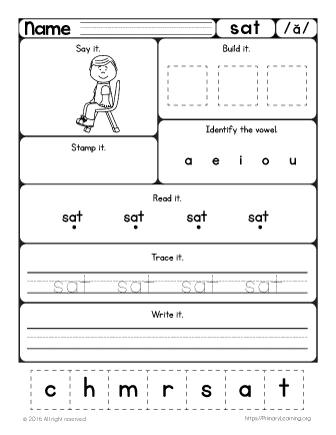 Sat Worksheet  Learn Short A Sound  Free Worksheets  Primarylearningorg