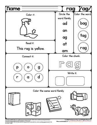 Rag Worksheet The Ag Word Family Primarylearning Org