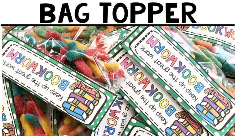 Free Printable Bookworm Bag Topper