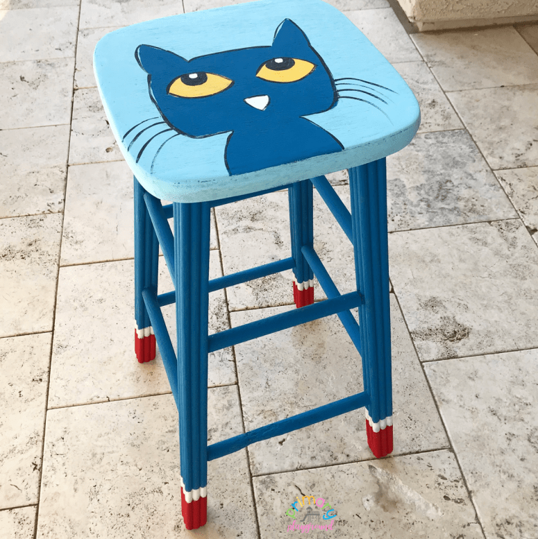 DIY teacher stool - Pete the Cat