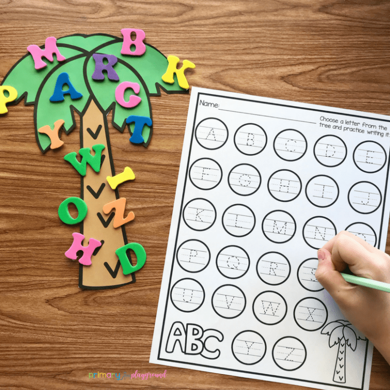 Free Printable Alphabet Tree Center -Chicka Chicka Boom Boom