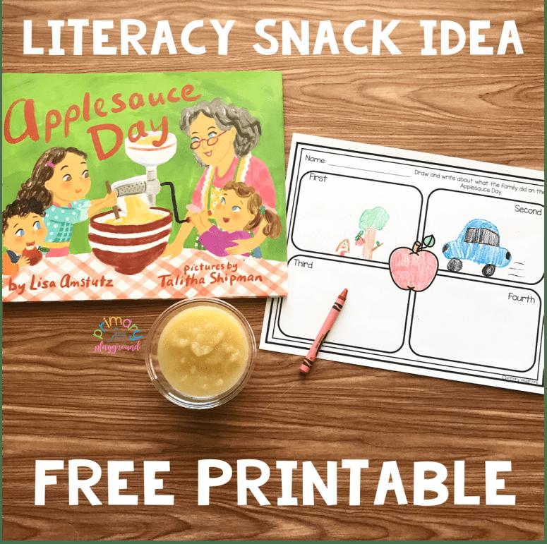 Literacy Snack Idea Applesauce + Free Printable