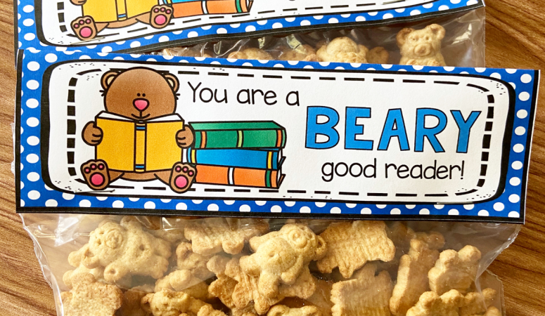 Beary Good Reader Treat Bag Topper