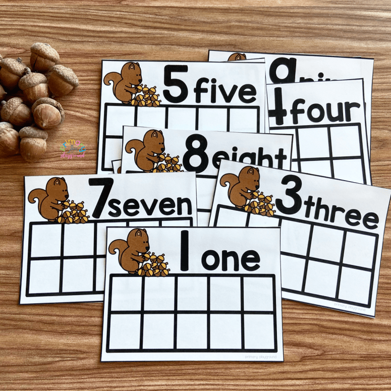 Free Printable Acorn Ten Frame Cards.