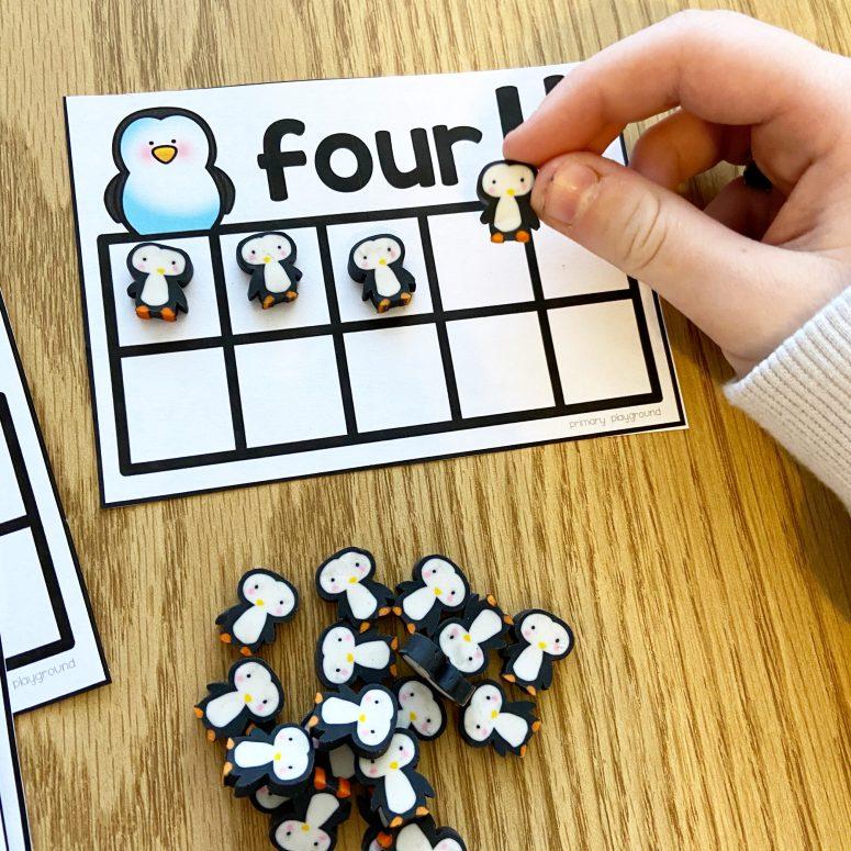 penguin ten frame task cards