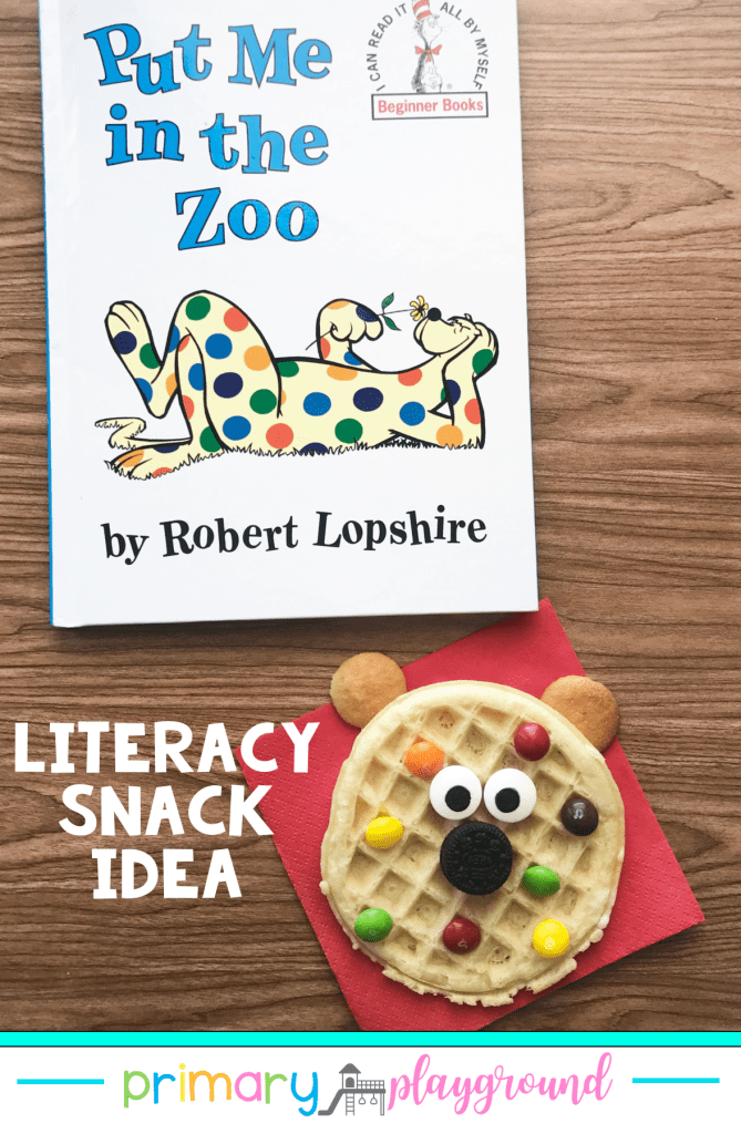 Grab our FREE printable and see our snack idea to use with Put Me In The Zoo. It's a great addition to your read-alouds for Read Across America week!