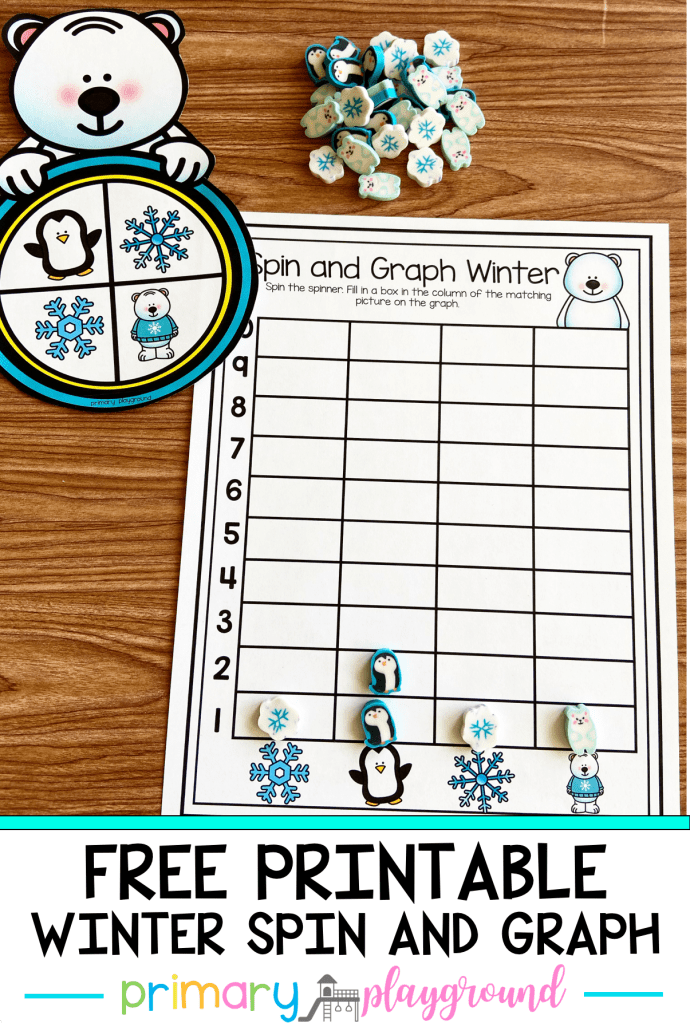 This Free Printable Winter Spin and Graph is a fun hands-on activity to teach your little learners about counting and graphing.