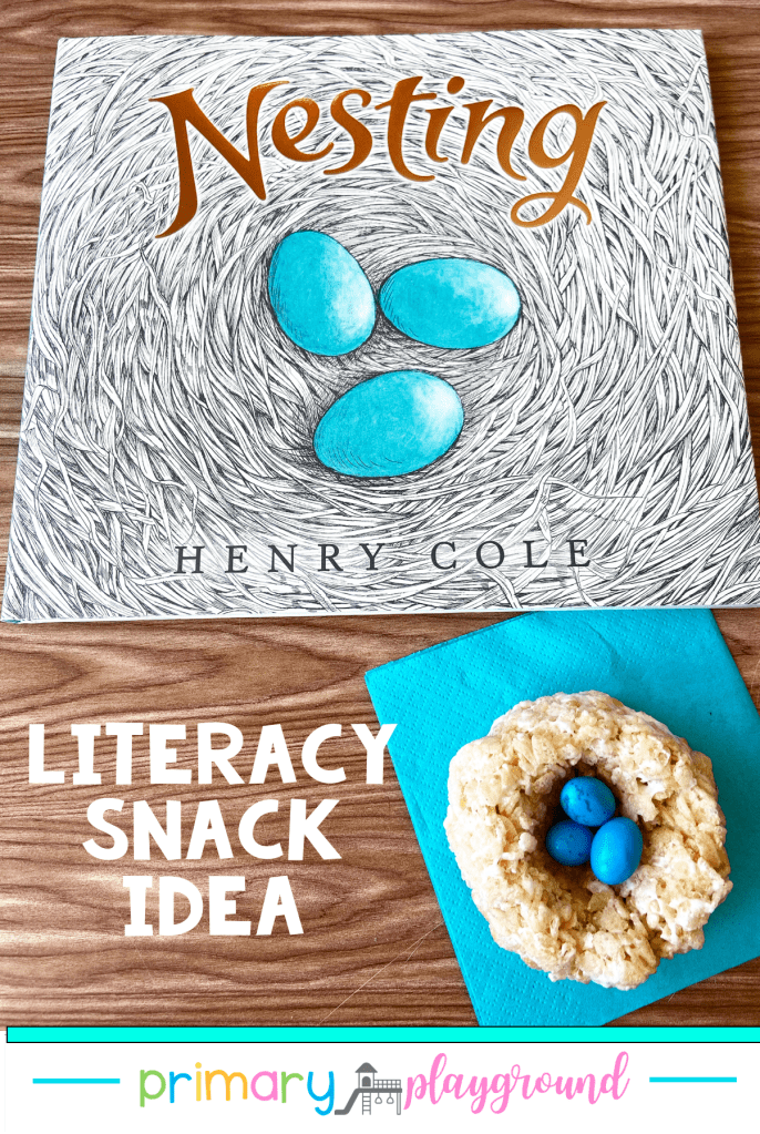 Grab our FREE printable and see our snack idea to use with Nesting. It's a great Literacy Snack Robin's Nest Read-Aloud addition to your book collection.