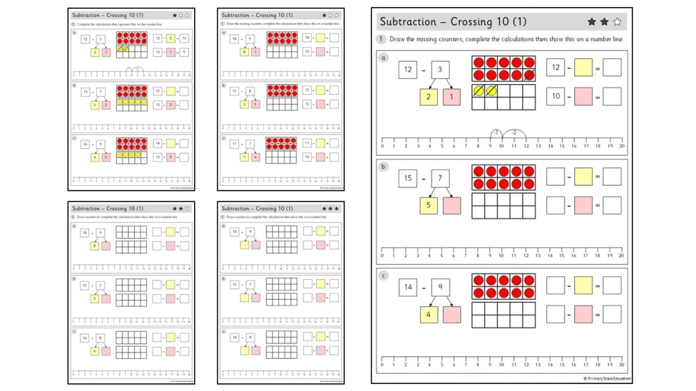 medium resolution of Subtraction - Crossing 10 (1)   Worksheets – Primary Stars Education