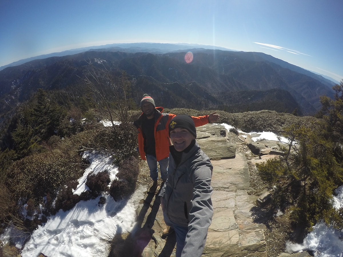 2 men pose for a picture on Leconte Summit Great Smoky Mountains National Park, Tennessee