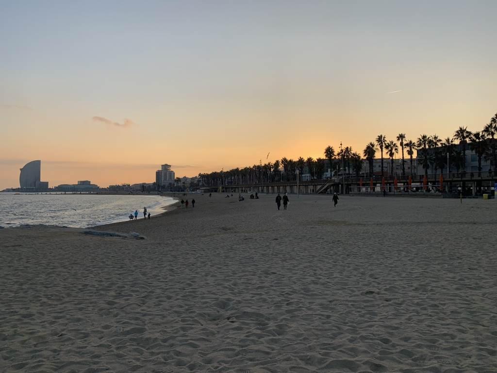 Barceloneta Beach sunset over coastline