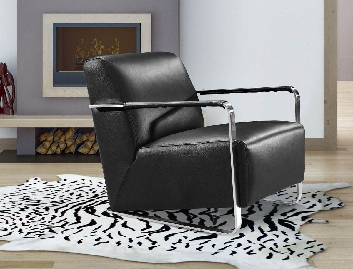 Black Leather Lounge Chair Modern Black Leather Low Profile Lounge Chair