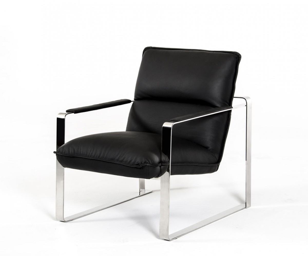 Black Leather Lounge Chair Modern Black Leather Lounge Chair With Steel Frame