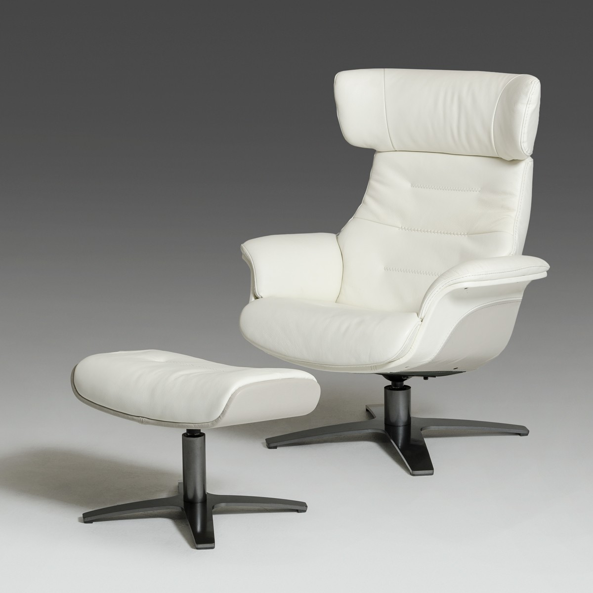 Real Leather Recliner Chairs Modern White And Grey Genuine Leather Reclining Chair And