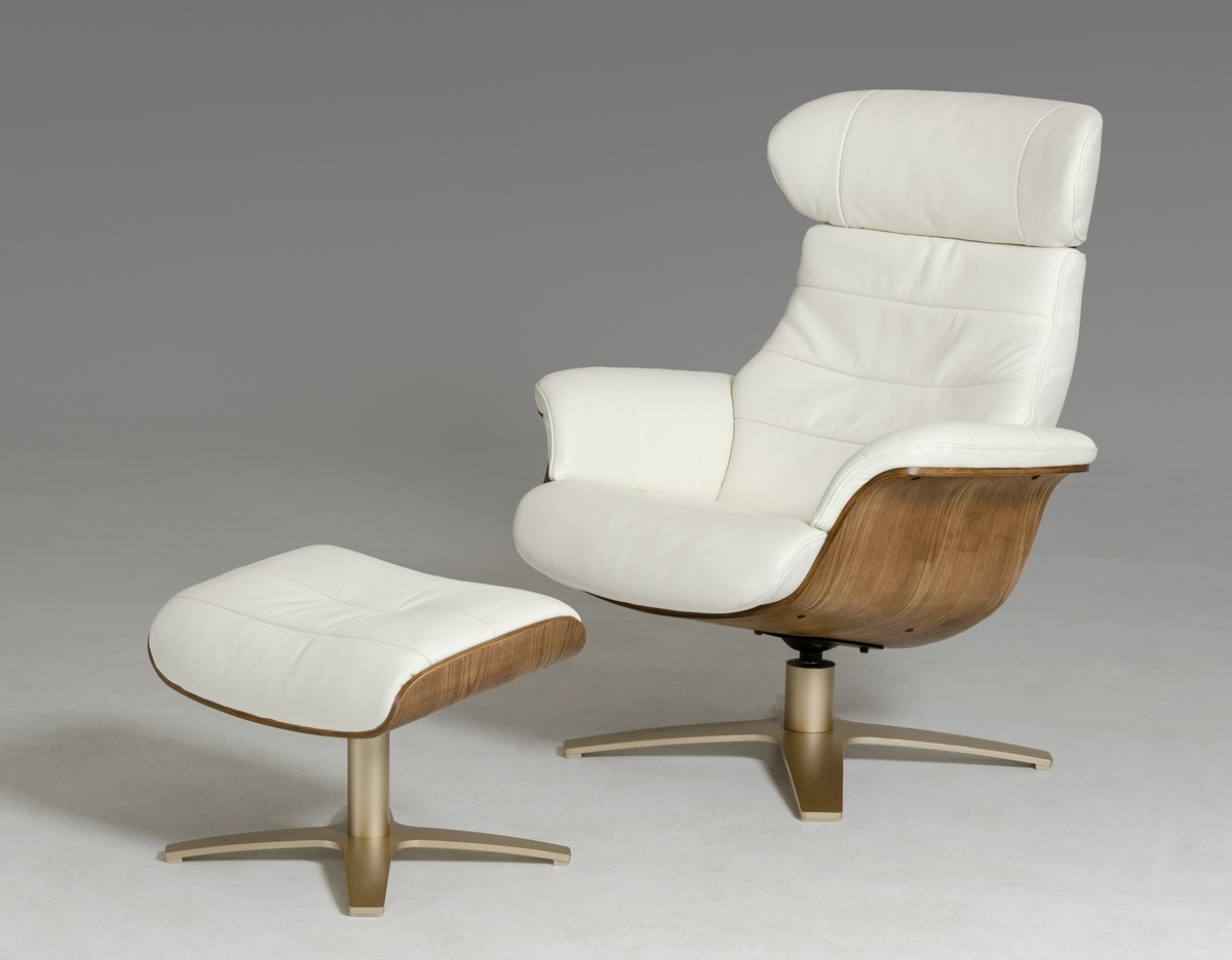 Modern Leather Chairs Modern White Leather Walnut Veneer Frame Chair With Ottoman