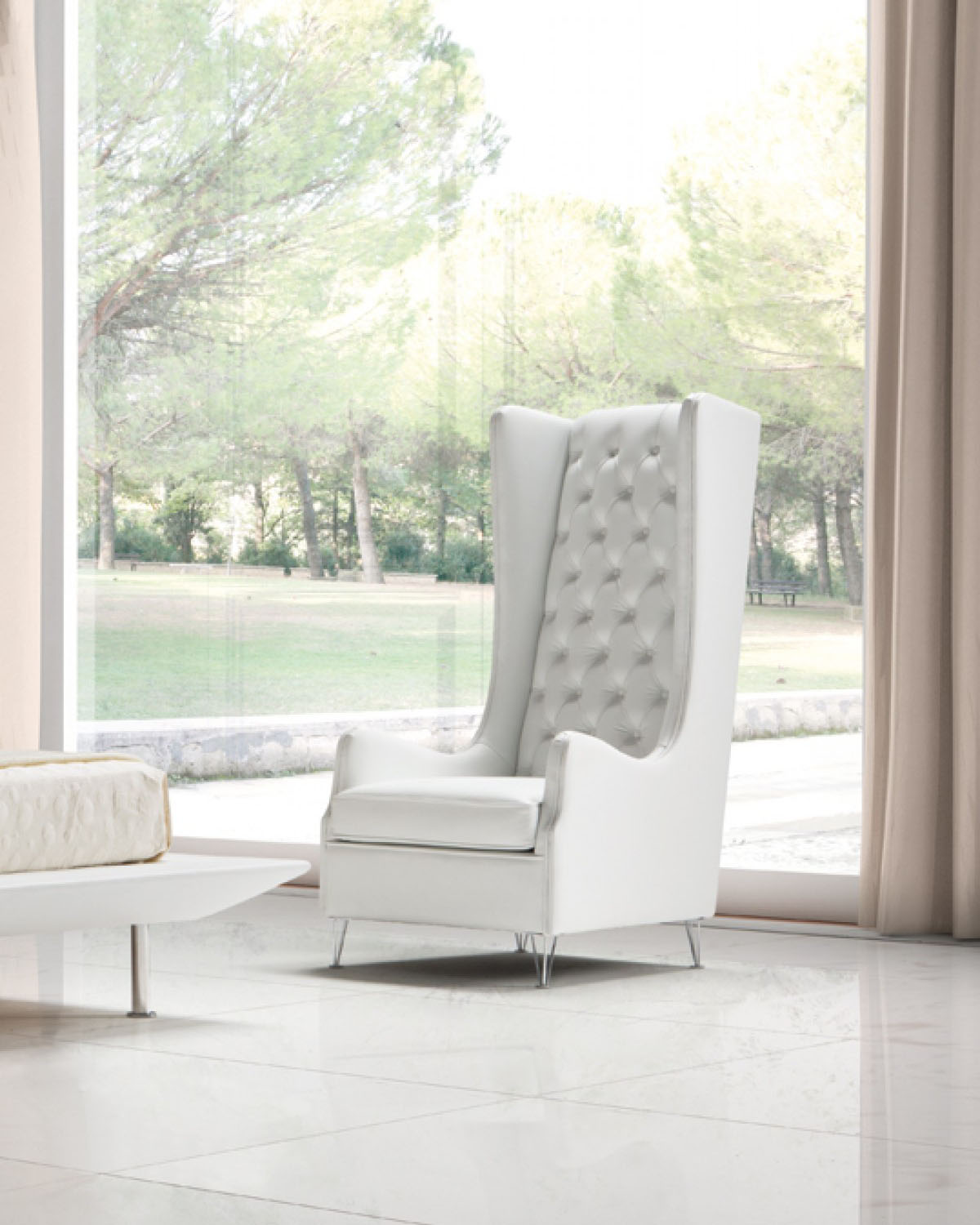 White Tufted Accent Chair Tufted White Leather Italian Made Accent Chair Columbus