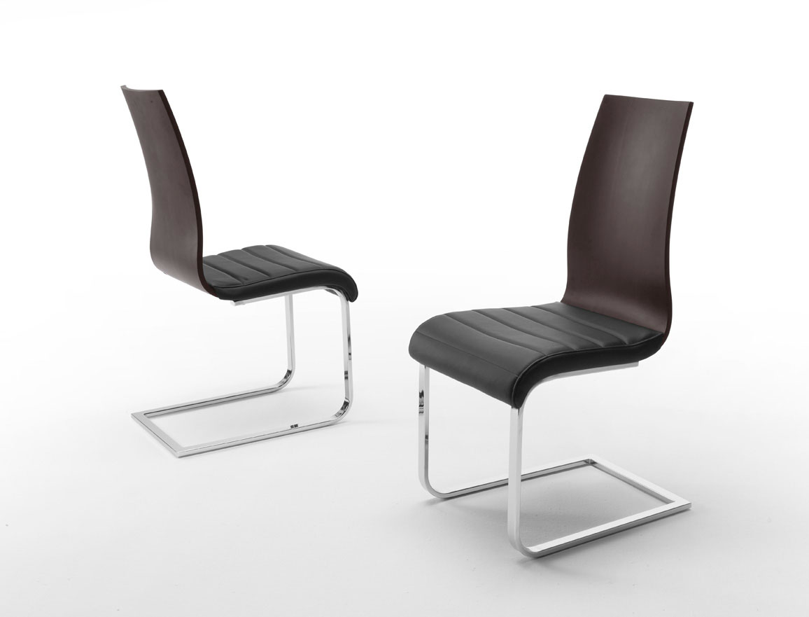 Modern Dining Chairs Metal And Wood Back Dining Chair With Black Leather Seats