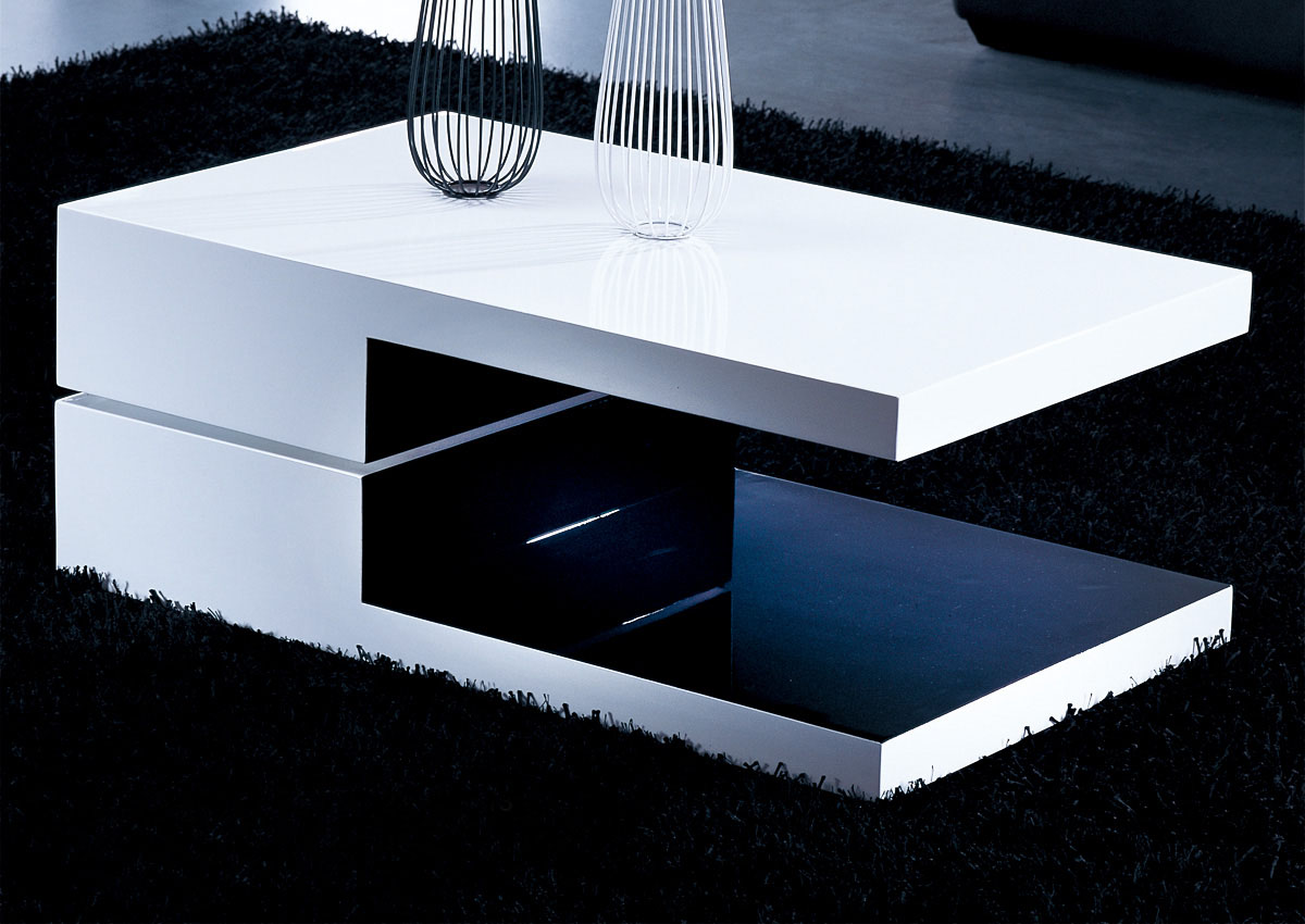 White And Black Rectangular High Gloss Contemporary Coffee