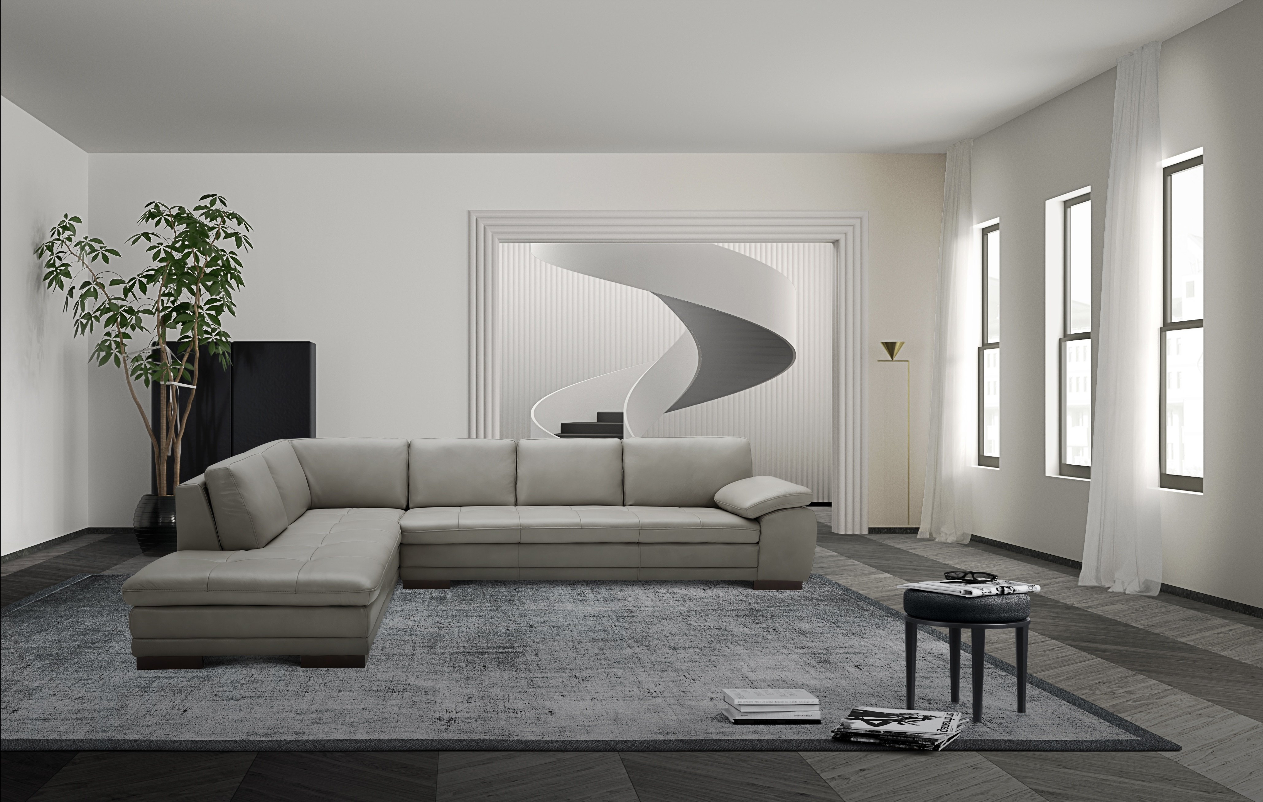 Leather Upholstered Contemporary Italian Premium Sectional
