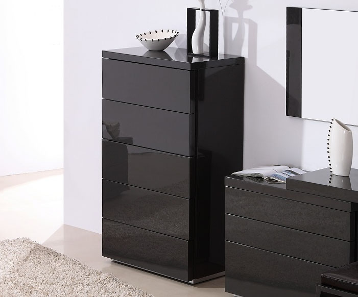 Dark Grey Gloss Functional Chest Of Drawers For