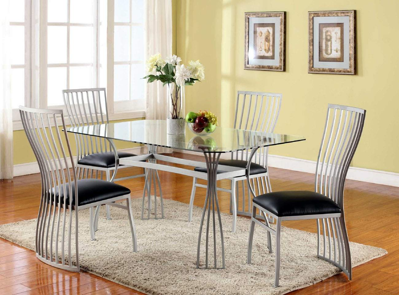 Breakfast Table Chairs Graceful Rectangular Clear Glass Top Leather Designer 5
