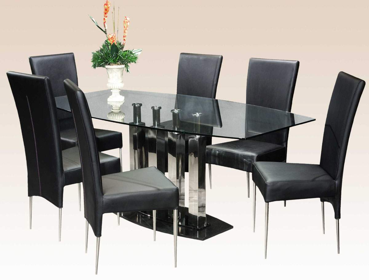 Black Dining Room Table And Chairs Stylish Clear Glass Top Marble Leather Modern Dinner Table Set
