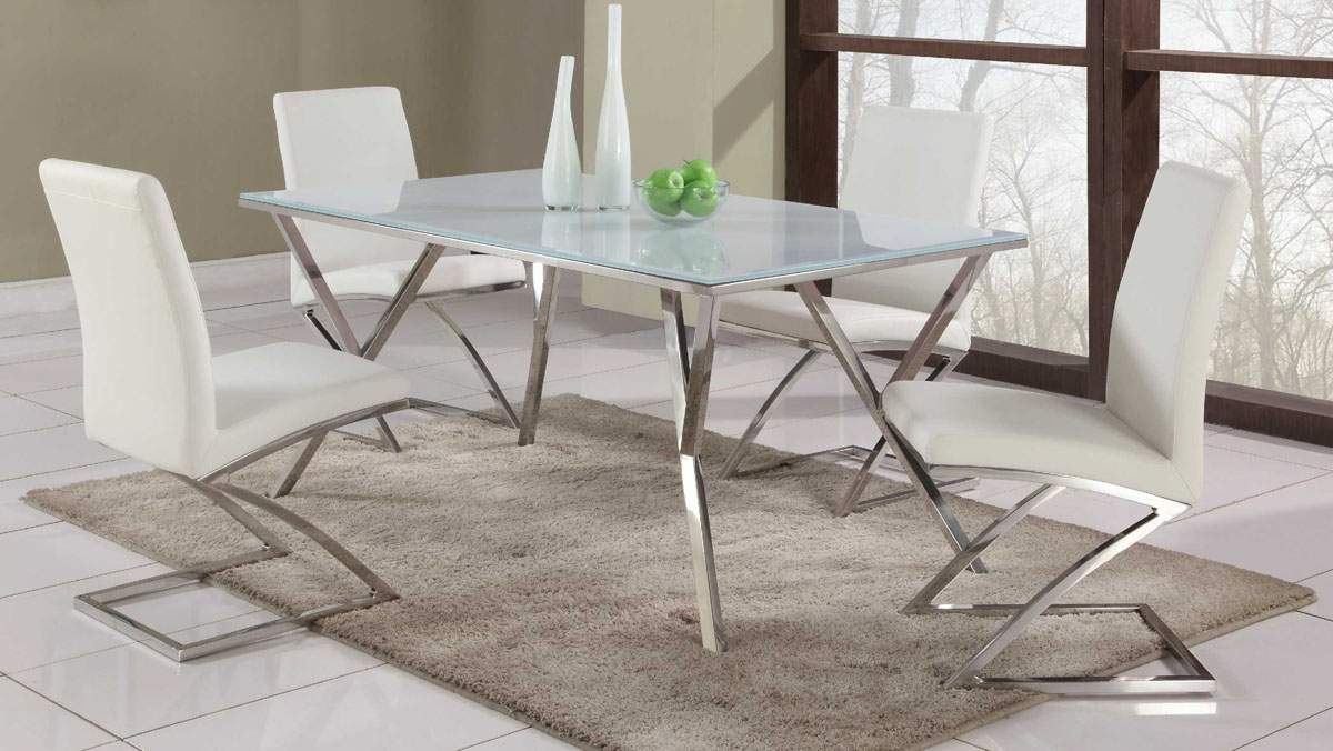 White Dining Room Chair High End Rectangular Glass Top Leather Dining Table And Chair Sets