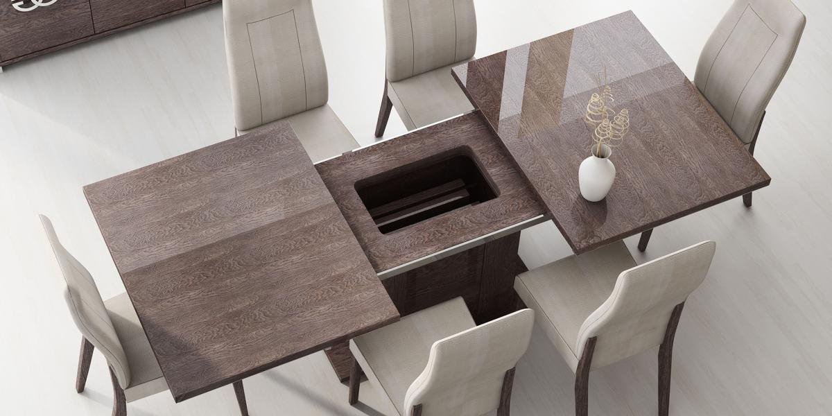 Made In Italy Extendable In Wood Microfiber Seats Modern