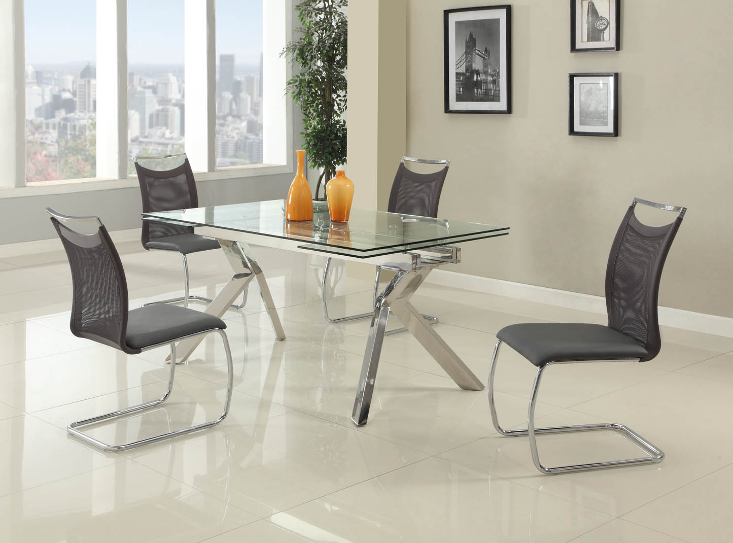 Glass Chair Fashionable Rectangular Glass Top Leather Kitchen Dinette