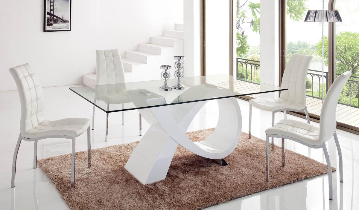 Unique Rectangular In Wood Clear Glass Top Dining Room