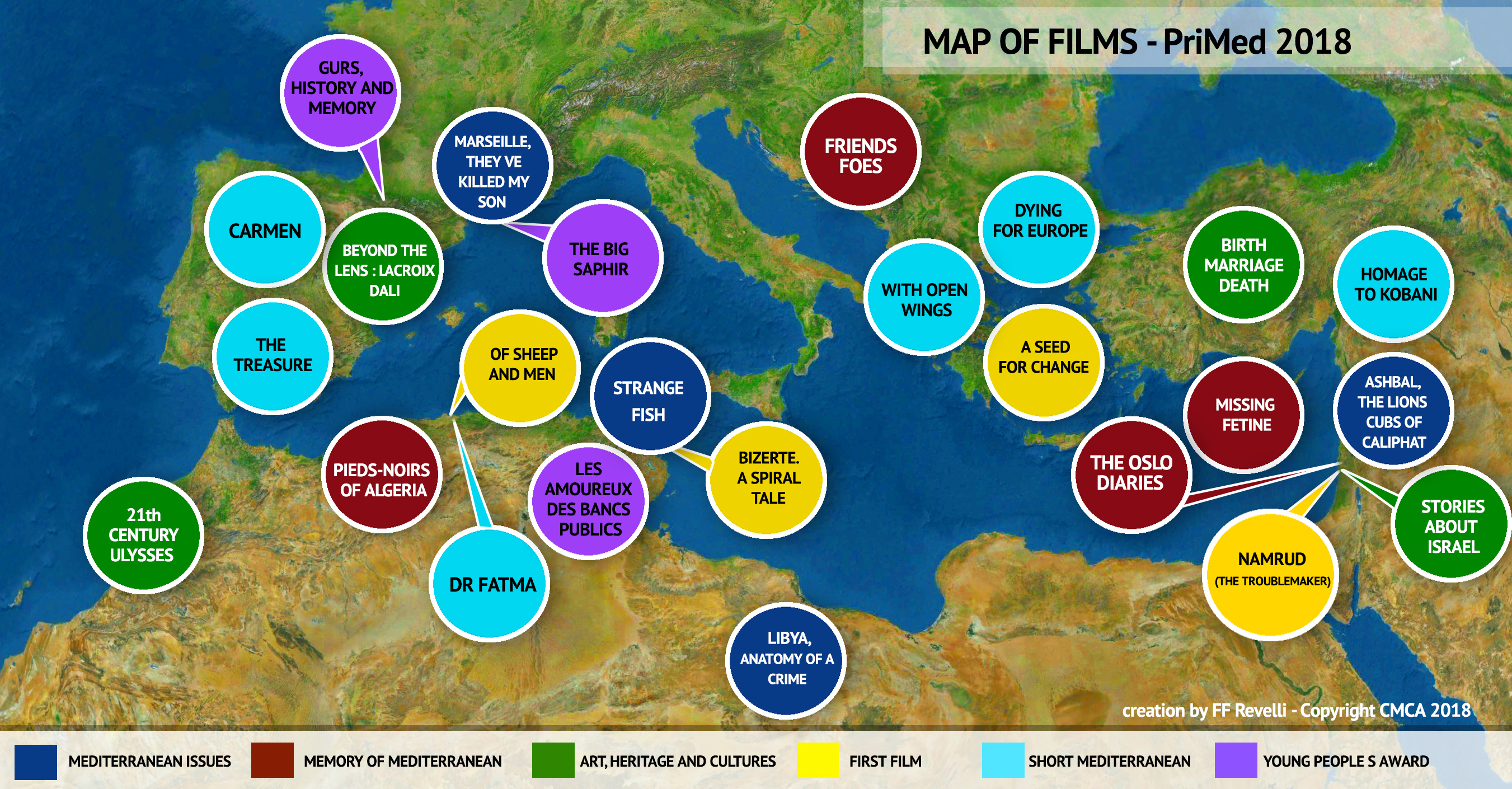 THE MAP OF SELECTED FILMS OF PriMed 2018 - PriMed