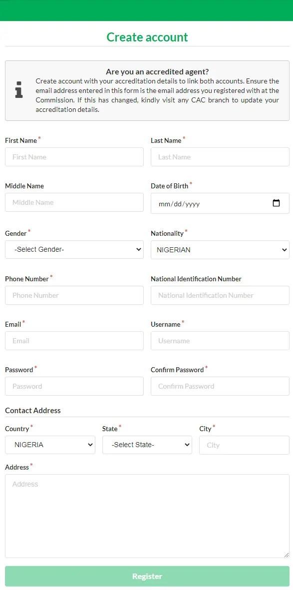 Création d'un compte sur le portail d'inscription de l'ACE