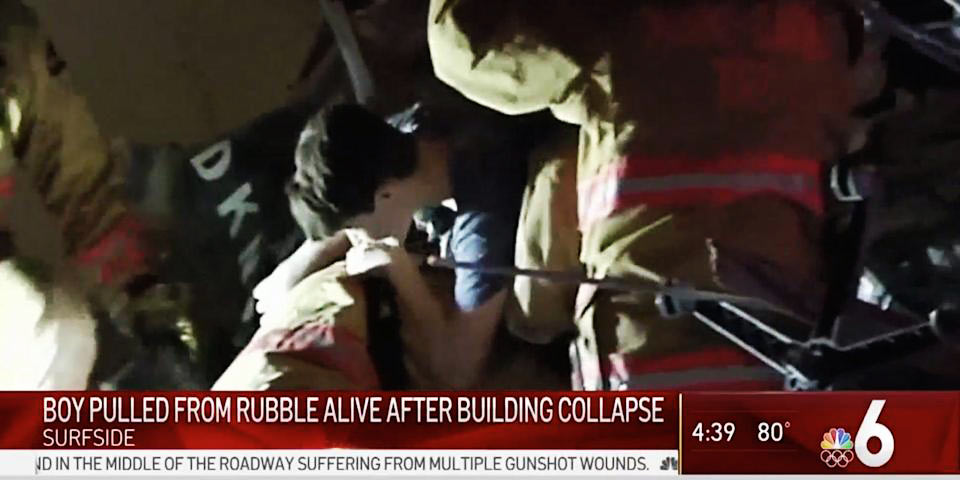Surfside Condo Collapse Victim Being Pulled From The Rubble