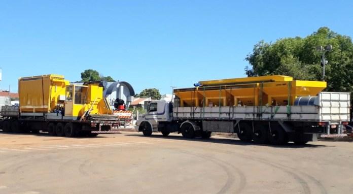 Equipamentos da Usina de Asfalto CBUQ adquirida pelo município foram entregues nesta segunda
