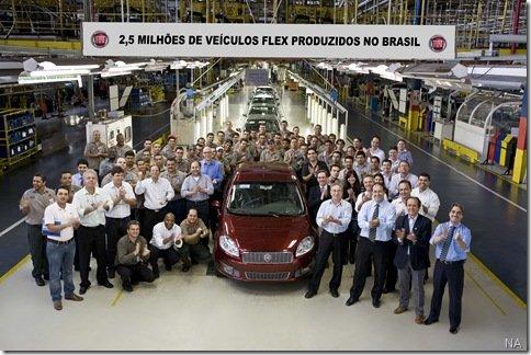 Fiat atinge a marca de 2,5 milhões de carros Flex feitos no Brasil