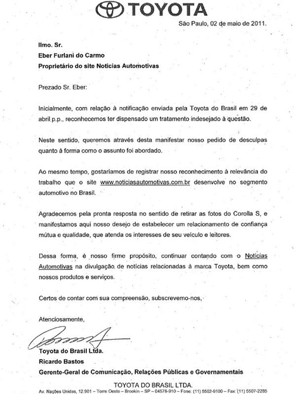 Toyota envia carta de desculpas ao Notícias Automotivas