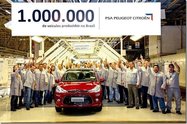 PSA comemora seu primeiro milhão de veículos produzidos no Brasil