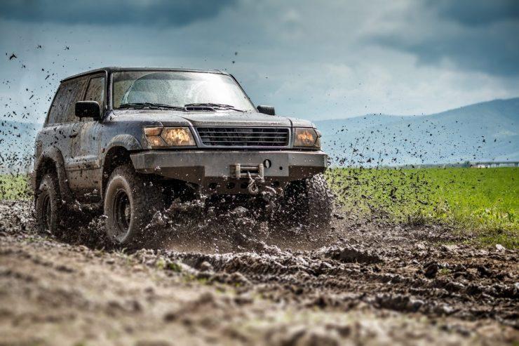 Off road vehicle splashed mud
