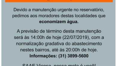 Photo of MANUTENÇÃO NO RESERVATÓRIO DO BAIRRO JOÃO BRÁS – INTERRUPÇÃO DE ÁGUA