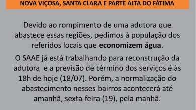 Photo of FORNECIMENTO DE ÁGUA INTERROMPIDO NOS BAIRROS NOVA VIÇOSA, SANTA CLARA E PARTE ALTA DO FÁTIMA