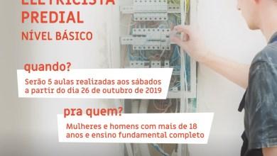 Photo of Curso gratuito de Eletricista Predial abre inscrições
