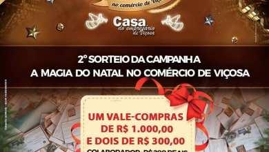 Photo of 2º sorteio da Campanha de Natal de Viçosa acontece neste sábado (14)